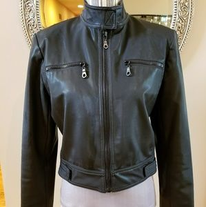 ABS Allen Schwartz Faux Leather Moto Jacket